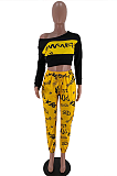 Casual Letter Long Sleeve Round Neck Crop Top Long Pants Sets SXS6022