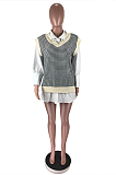 Casual Polyester Long Sleeve Round Neck Houndstooth Spliced Mini Dress BM7139