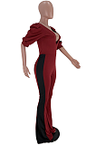 Casual Polyester Short Sleeve Spliced Bell Bottoms Jumpsuit SXS6015