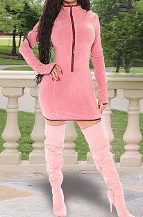 Hand Hook Zipper Dress Long Sleeve Pure Color Round Neck Dress HY5200