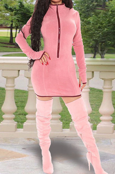 Hand Hook Zipper Dress Long Sleeve Pure Color Round Neck Dress HY5200