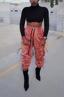 Sporty Polyester Drawstring Knotted Strap Mid Waist Long Pants DN8558