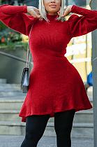 فستان كاجوال من البوليستر بأكمام طويلة ورقبة عالية وأكمام فانوس YX9261