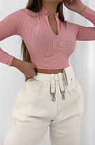 Casual Modest Long Sleeve V Neck Crop Top JZH8007