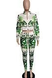 Green Printing Zipper Fashion Casual Sport Pants Two-Piece LBA1101