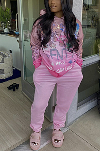 Casual Sporty Simplee Letter Long Sleeve Round Neck Sweat Pants Sets JZH8016