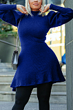 Casual Polyester Long Sleeve High Neck Lantern Sleeve Mini Dress YX9261