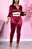 Casual Sporty Polyester Zipper Long Sleeve Spliced Long Pants Sets E8547