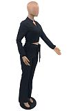 Casual Simplee Long Sleeve V Neck Waist Tie Wide Leg Pants Sets TD3001