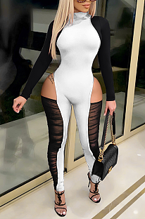 Sexy Polyester Long Sleeve Round Neck Spliced Unitard Jumpsuit ZS0366