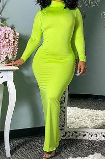 Back Hollow Out Ruffle Long Sleeve High Neck Dress LD9071