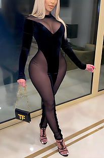 Sexy Mesh Spandex Long Sleeve Spliced Bodycon Jumpsuit DN8555