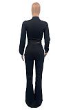 Conjuntos de calças informais simplee manga comprida decote em V cintura ampla perna ampla TD3001