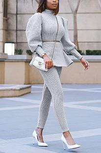 Casual Cotton Spandex Long Sleeve High Neck Lantern Sleeve Tee Top Long Pants Sets YX9262