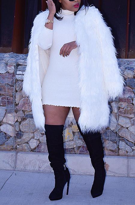 Casaco elegante casaco de pele sintética manga comprida comprimento médio ZS0324