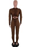 Cute Polyester Long Sleeve Round Neck Hollow Out Ruffle Bodycon Jumpsuit SXS6016