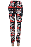 Casual Cotton Blend Pop Art Print Waist Tie Mid Waist Long Pants CYY8055