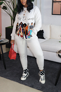 Casual Cartoon Graphic Long Sleeve Round Neck Warm Padded Hoodies Spliced Long Pants Sets CM810