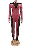 Sexy Mesh Spandex Long Sleeve Spliced Bodycon Jumpsuit DN8555