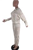 Casual Polyester Long Sleeve Hoodie Coat Long Pants Sets SXS6019