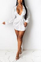 Sexy Polyester Long Sleeve Lapel Neck Belted High Waist Mini Dress YFS3629