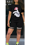 Casual Polyester Mouth Graphic Short Sleeve Round Neck Tee Top Shorts Sets OX3021