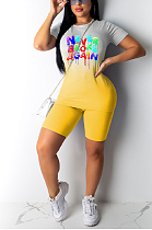 Sexy Polyester Letter Short Sleeve Round Neck Spliced Gradients Tee Top Shorts Sets OX3022