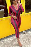 Casual Striped Long Sleeve Deep V Neck Waist Tie Bodycon Jumpsuit