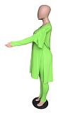 Elegant Polyester Long Sleeve V Neck Split Hem Tee Top Long Pants Sets LIN8836