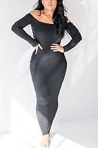 فستان طويل مثير بدون أكتاف وياقة مدببة ZZS8319