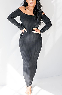 Sexy Long Sleeve Off Shoulder Notched Neck Long Dress ZZS8319