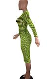 Vestido midi de malha sexy de manga longa em volta do pescoço oco para fora da cintura média PT98023