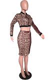 Casual Sporty Leopard Long Sleeve Tee Top Mid Waist Midi Skirt Sets SXS6009