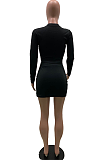 Casual Sexy Polyester Long Sleeve Round Neck Tee Top Above Knee / Short Skirt Sets SXS6004