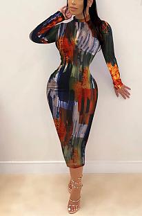Sexy Pop Art Print Long Sleeve Round Neck Midi Dress ZZS8369