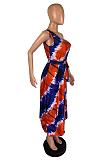 Street Style Polyester Sleeveless Sloping Shoulder Round Neck Irregular  Midi Dress OX3023
