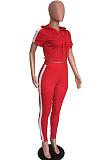 Conjunto de calças compridas casuais esportivas de poliéster manga curta emendada com capuz t-shirt MDO9025