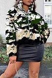 Casaco com zíper para impressão camuflagem manga comprida virado pescoço lapela NK194