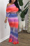 Casual Polyester Tie Dye Long Sleeve Off Shoulder Tee Top Flare Leg Pants Sets SXS6005