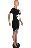 Conjunto de shorts de poliéster casual de poliéster manga curta em volta do pescoço camiseta OX3021