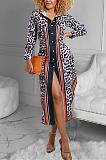 Casaco casual leopardo manga comprida lapela pescoço abotoado cardigan vestido longo YFS3630