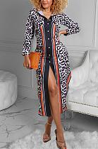 عارضة ليوبارد طويلة الأكمام طية صدر السترة زر سترة فستان طويل YFS3630