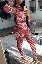 Sexy Polyester Tie Dye Long Sleeve Round Neck Long Pants Sets PT97033