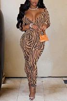 Night Out Sexy Leopard с длинным рукавом с глубоким v-образным вырезом Bodycon Jumpsuit ZZS8310