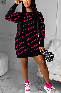 Casual Simplee Letter Long Sleeve Round Neck Sweaters Mini Dress ZZS8371