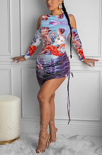 Night Out Sexy Baroque Long Sleeve Round Neck Off Shoulder Mini Dress ZZS8367