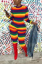 Casual Polyester Striped Long Sleeve Round Neck Bodycon Jumpsuit SXS6010