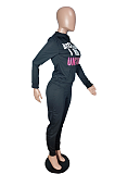 Casual Polyester Letter Long Sleeve Slant Pocket Hoodie Long Pants Sets SXS6007