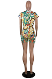 Night Out Sexy Polyester Pop Art Print Short Sleeve V Neck Bodycon Jumpsuit Romper