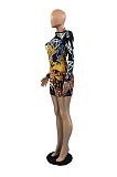 Mini vestido sexy de poliéster manga longa em volta do pescoço e cintura média OX3520
